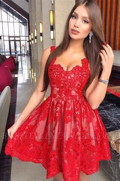 Prom Dresses For Teens, Sleeveless Red Deep V Neck Lace A Line Pleated Flowers Short Homecoming Dresses, Short prom dresses and high-low prom dresses are a flirty and fun prom dress option. Red Lace Prom Dress, Cheap Homecoming Dresses, Hoco Dresses, Dresses For Teens, Sexy Dresses, Dress Red, Dresses Online, Elegant Dresses, Evening Dresses