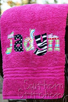 Hey, I found this really awesome Etsy listing at http://www.etsy.com/listing/116012926/applique-name-towel-personalized-bath