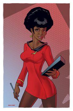 Lt Uhura from Star Trek (TOS) colored in painter/photoshop Star Trek Tv, Star Trek Ships, Star Wars, Star Trek Original, Power Pop, Girl Power, Vaisseau Star Trek, Akira, Science Fiction