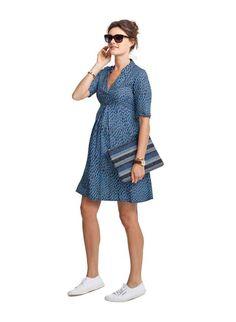 Blue Cavendish Print Maternity Dress | Isabella Oliver EU