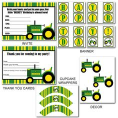 Printable Party Packs: JOHN DEERE TRACTOR BIRTHDAY PARTY PACK