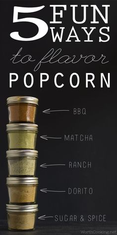 5 Fun Ways to Flavor Popcorn (plus a gift for popcorn lovers) | http://www.worthcooking.net/5-fun-ways-to-flavor-popcorn/