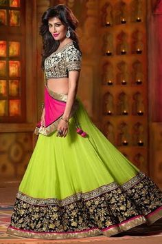 Fluorescent pink and black lehenga