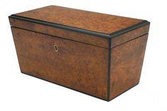 Art Deco amboyna wood box with ebonized trim.  England, circa 1940