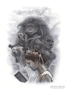 "L'omaggio del giorno: Labyrinth secondo James Hance.jameshance:  ""Should You Need Us?"" (Labyrinth)18"" x 24"" Graphite / Acrylic / Color Pencil on Watercolor PaperPrints, very, very soon :) It's been a pleasure painting for you, as always!xwww.jameshance.com"