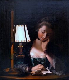 c. 1766 Henry Robert Morland- Woman Reading by a Paper-bell Shade