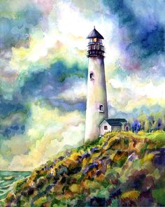 Ann Nicholson WATERCOLOR yaquina Head Lighthouse Painting