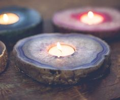 Agate slice candle holders for boho/ hippie vibes