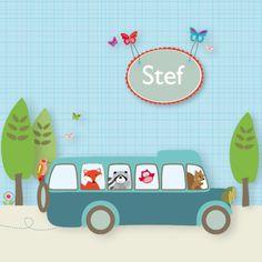 Busje met wasbeer, vogeltje en eekhoorn- Greetz
