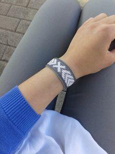 Loom beaded grey leather cuff bracelet by BeadAndLeatherStudio