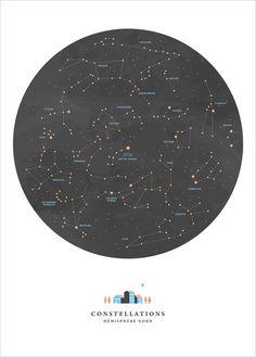 Affiche Carte du Ciel, Constellations, Etoiles - Noemie Cedille