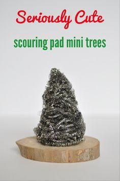 how to make a scouring pad mini christmas tree craft, christmas decorations, crafts, seasonal holiday decor add white paint for snow