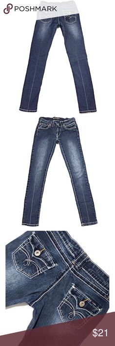 """ANGELS Juniors SZ 5 Reg Skinny Low Dark Blue Jeans Cute pair of Angels low rise dark wash skinny jeans with stitched flap back pockets size 5 inseam 29"""" Angels Jeans Skinny"""