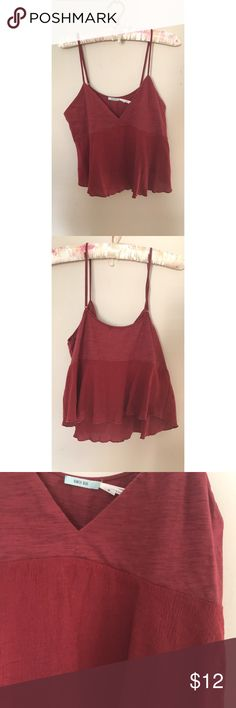 🔥UO Kimchi Blue Flowy Crop Top🔥 Great Urban Outfitters burgundy top with slight asymmetry on the hem. Adjustable straps! Urban Outfitters Tops