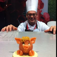 Making marzipan from Choco-Story of Brugge, Belgium at ITB Berlin.