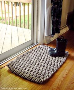 Ashley from She Makes a Home tries out our Recycled Doormat Rug in her new home!