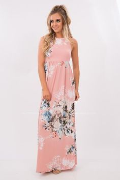 Maxi dresses were made to be a staple piece in everyones wardrobe! Pair this floral printed maxi with your favorite sandals or wedges and be ready to face the day. This adorable maxi dress has pockets which makes it even better! This is a super flattering style and will look awesome for any event this spring or summer!