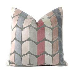 Sheridan Pink Gray Cream Velvet Pillow Cover - Fits 22x22 insert (20.5x20.5 cover) / Pattern on both sides