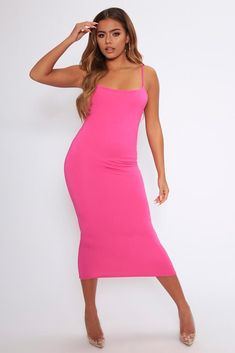 dc850f666df Fuchsia Low Back Strappy Midi Dress - PDP – I SAW IT FIRST Bright Pink