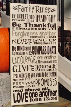 Family Rules with bible verses 12x24 by smartypantzdesignz on Etsy, $48.00