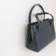 Vintage Box Purse  1960s Mad Men Style  Navy Patent by by TwoMoxie, $28.00