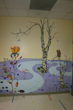 Hospital playroom wonderland mural by Shannon and Co Murals Photography Backdrops, Murals, Playroom, Wonderland, San Francisco, Commercial, Hand Painted, Painting, Decor