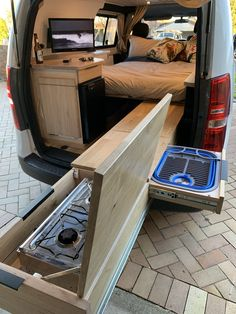 Effective pictures we offer about caravan ideas A quality . Minivan Camping, Truck Bed Camping, Camping Box, Camping Kitchen, Camping Cooking, Van Conversion Interior, Camper Van Conversion Diy, Suv Camper, Camper Trailers