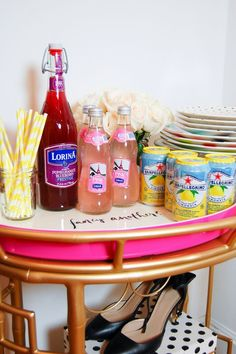 Bar de chicas, home bar, beauty bar, bebidas de verano, summer drinks www.PiensaenChic.com