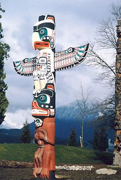 "Totem poles were first made by the West Coast First Peoples. The first totem pole was named Kalakuyuwish, translated as, ""the pole that holds up the sky"", and was said to be a gift from Raven. stanley-park-totem-poles-vancouver"