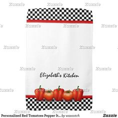 Shop Personalized Red Tomatoes Pepper Italian Style Towel created by wasootch. Kitchen Linens, Kitchen Towels, Dish Towels, Tea Towels, Italian Style Kitchens, Red Pictures, Red Tomato, Red Kitchen, Kitchen Styling