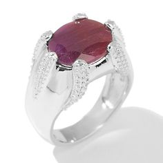 5ct Ruby Solitaire Sterling Silver Textured Ring at HSN.com.
