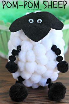 Pom-Pom Sheep Easter Craft - Easter crafts for kids!