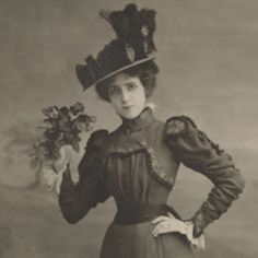 Antique Victorian Photo, Beautiful Lady, Fashionable Hat, Floral Bouquet. Fashion Model for Photography Studio.