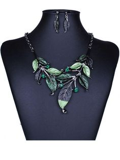 Streetstyle Casual A Suit Of Leaf Necklace And Earring