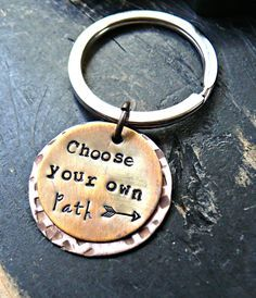 Choose Your Own Path - Arrow Keychain - Hand Stamped Keychain - Inspirational Gift - Gift For The Graduate - Graduation Gift by yourcharmedlife on Etsy Mom Jewelry, Metal Jewelry, Jewelry Crafts, Jewelry Making, Jewlery, Hand Stamped Metal, Hand Stamped Jewelry, Graduation Jewelry, Metal Forming