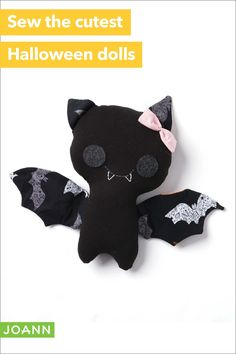 Little ones will go batty for these super-cute dolls! Sew a bunch and give them to your spooky crew. Halloween Arts And Crafts, Halloween Doll, Cute Halloween, Holiday Crafts, Halloween Sewing Projects, Halloween Decorations, Cute Crafts, Felt Crafts, Fabric Crafts