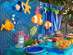 """Decor for under the sea theme featuring items Doug at the dollar and party stores. It could be """"I like to sea a world without cancer"""" Under The Sea Theme, Under The Sea Party, 1st Boy Birthday, Boy Birthday Parties, Birthday Ideas, Under The Sea Decorations, Ocean Party Decorations, Creation Deco, Creations"""