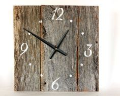 barnwood clock | Barnwood Clock - Country Clock - Weathered wood Clock