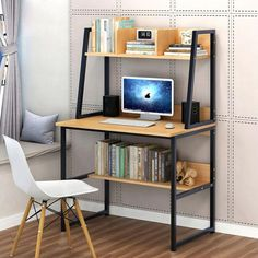 Modern Computer Desk With Shelves PC Workstation Study Table Home Office White/Yellow Choose Computer Desk With Shelves, Bookshelf Desk, Pc Desk, Table Shelves, Computer Tables, Computer Desks For Home, Small Computer, Computer Workstation, Pc Computer