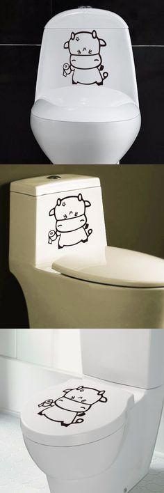 Creative DIY Cute Cartoon Bull Toilet Sticker Wall Decoration Removable PVC Bathroom Wall Stickers Poster Home Decor $1.8