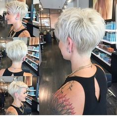 Who loves @nothingbutpixies? This amazing cut was done by @jessattriossalon... Pixie with close nape and asymmetrical front