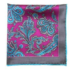 Silk Pocket Square-Printed Fuchsia, Grays, Teal Paisley from NELSON WADE. $34
