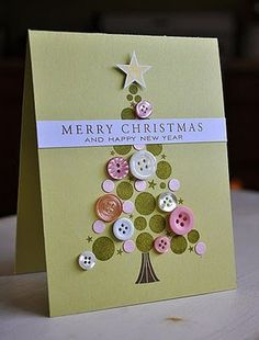 christmas tree card homemade – usingbuttons and cut out circle of ...