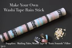 DIY Washi Tape Rain Stick- uses rolled up newspaper inside, have also seen rolled up tin foil- like this better than poking nails through. (for the Foolish Man/Wise Man song)