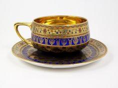 Vintage Portrait Demitasse Tea Cup Bohemia Donatello Gold Lined 3 oz Tea Cup Set, Tea Cup Saucer, Tea Sets, Antique Tea Cups, Terracotta, Vintage Tea, Tea Time, Tea Party, Vintage Portrait