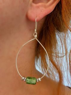 Sterling silver hoops and green kyanite gemstone earrings -  - McKee Jewelry Designs - 4