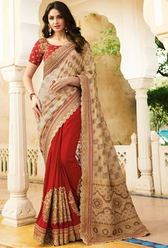 917000eb12 Red And Beige Designer Embroidered Party Wear Saree. Bridal Lehenga CholiSaree  ...
