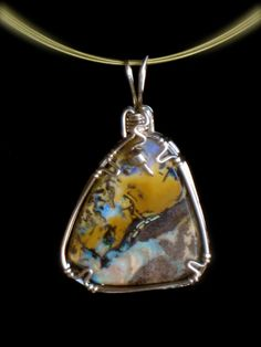 14.63ct Australian Yowah Boulder Opal  wrapped in 14kt Gold Filled wire.