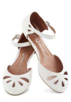 Worth the Fate Flat by Jeffrey Campbell - White, Solid, Cutout, Flat, Leather, Casual, Vintage Inspired, Graduation