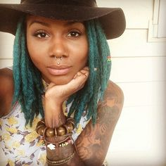 Woman (Hair) Crush! @jaymoneyy because not very many can pull off teal locs with such dopeness! via IG http://ift.tt/1sdm3ik